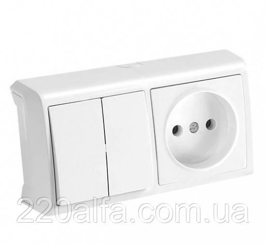 Горизонтальный блок, двойной выключатель+розетка Viko Vera
