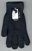 Перчатки мужские шерстяные двойные с начёсом Пані Рукавичка A-1, чёрные