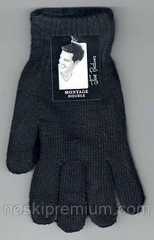 Перчатки мужские шерстяные двойные с начёсом Пані Рукавичка, длина 25 см, чёрные, A-1