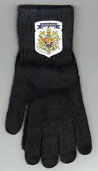 Перчатки мужские одинарные из качественной шерсти Mozart Е-1, чёрные