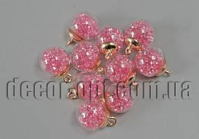Намистина-підвіска Кулька з рожевими камінчиками 16мм/10шт