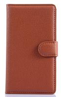 Кожаный чехол-книжка для Lenovo A536 коричневый
