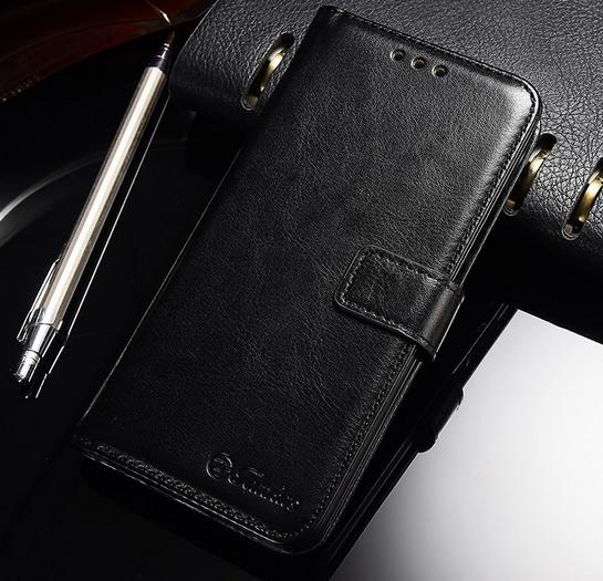 Кожаный чехол-книжка для Huawei P Smart черный