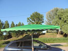 Зонт торговый, пляжный 2*3 с клапаном с УФ напылением. Зонт для торговли прямоугольный, уличный, садовый. Зеленый