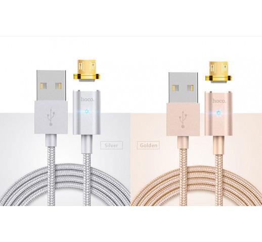 Кабель Hoco U16 magnetic adsorption  Micro USB \ Silver