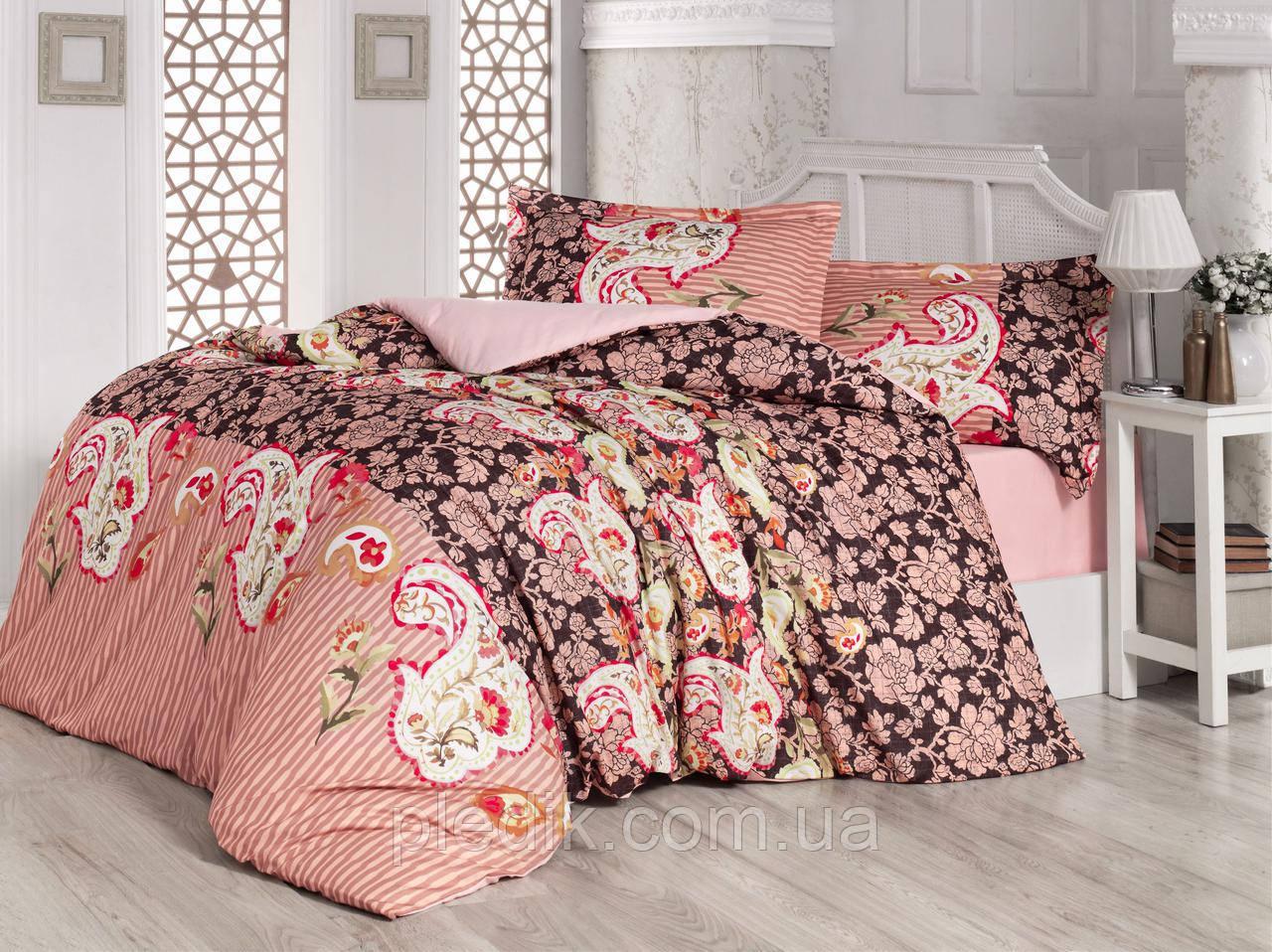 Семейное постельное бельё ранфорс 160х220х2 Gokay Paisley Pudra