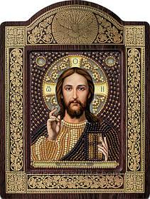 """Набор в резной рамке для вышивания бисером икона """"Христос спаситель"""""""
