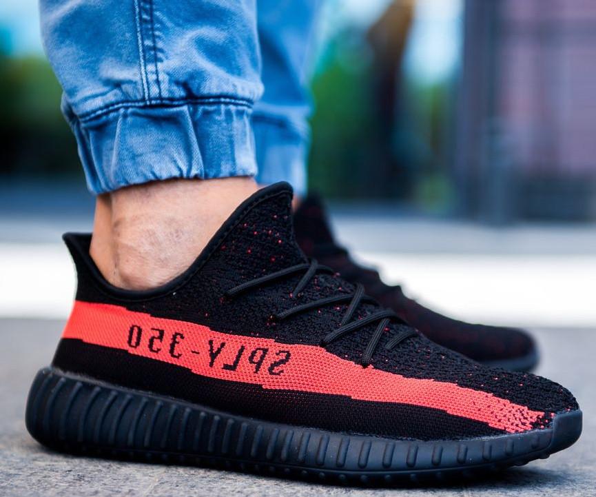 d7c7dd122215 Кроссовки Adidas Yeezy Boost 350 V2 SPLY-350 Black Red. Живое Фото (Реплика  ААА+) — в Категории