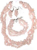 Бусы камень розового кварца