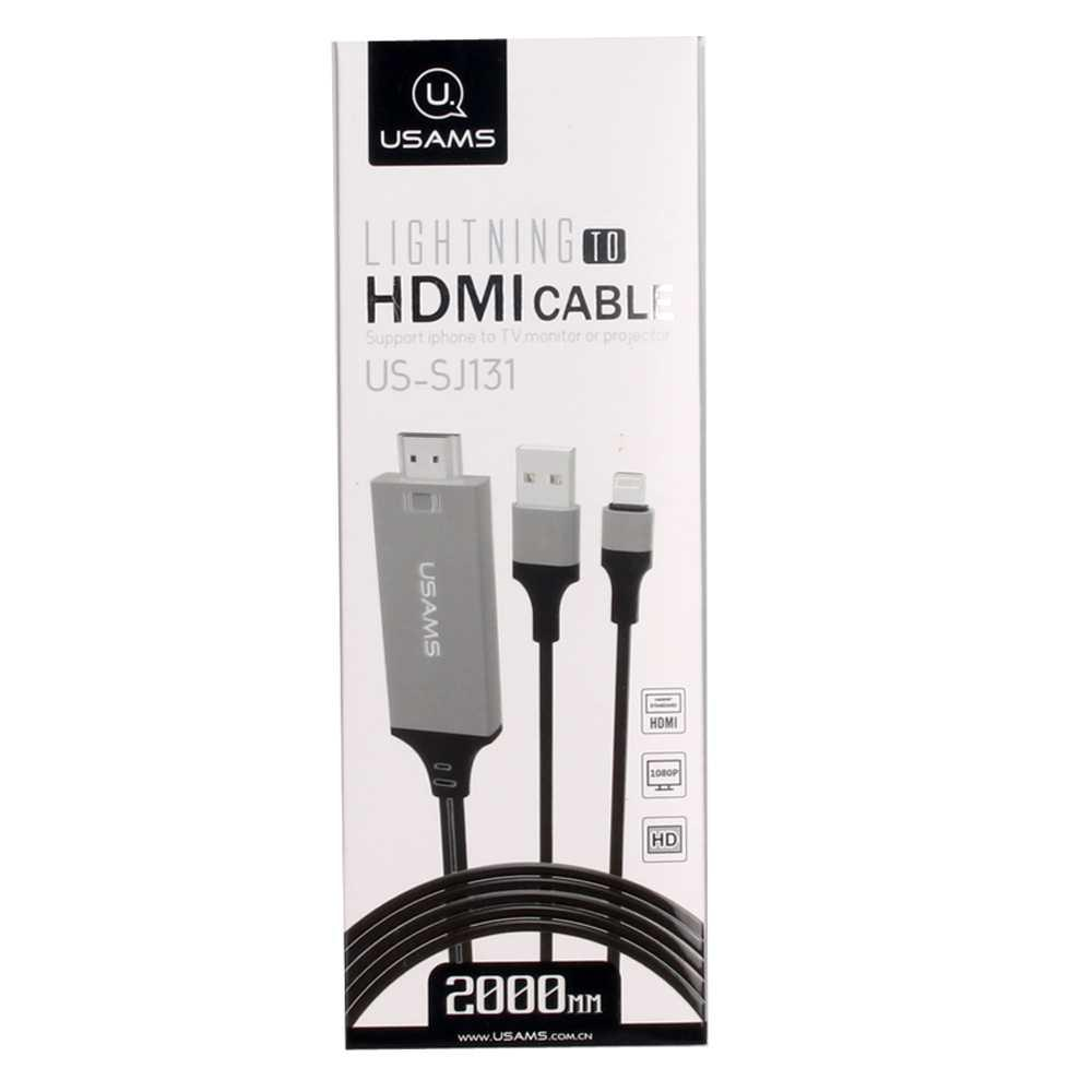Кабель Usams US-SJ131 Lightning to HDMI Cable 2m \ Black