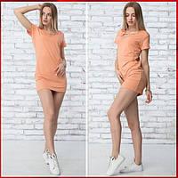 Летнее короткое  платье  Жаклин персиковое, фото 1