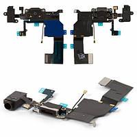 Шлейф для Apple iPhone 5C, с разъемом зарядки, с коннектором наушников, с микрофоном, черный