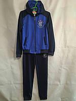 Спортивный костюм подростковый для мальчика от 12 до 14 лет,темно синий с электриком, фото 1