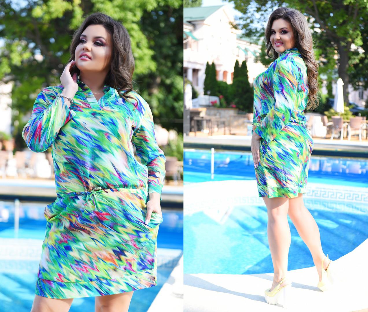 Летнее платье больших размеров 46+  из штапеля с ярким принтом  арт 5921-217
