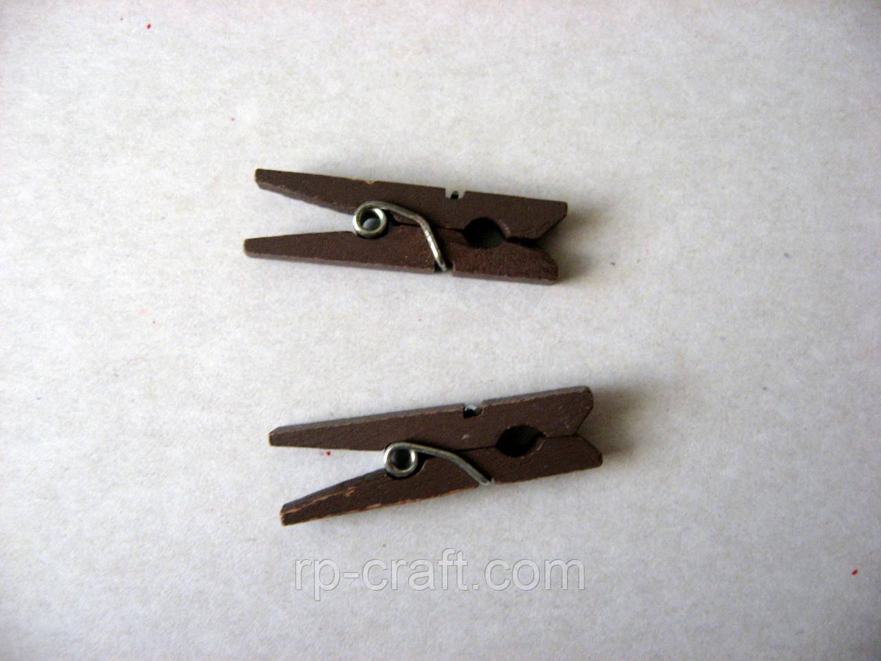 Прищепка деревянная, маленькая, 8х30 мм, коричневая