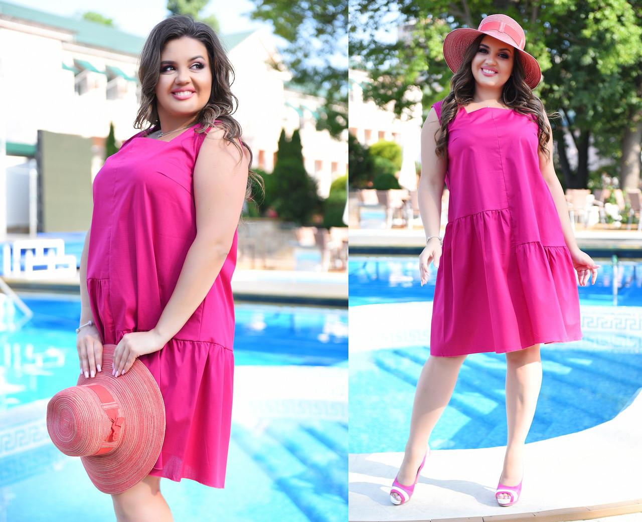 Платье больших размеров 46+  свободного кроя / 3 цвета арт 5923-217