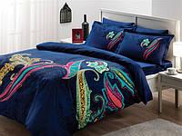 Семейный комплект постельного белья TAC DELUX-SATIN MIKELA V02 синий