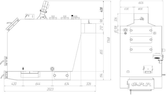 Твердотопливный котёл под факельную пеллетную горелку Gefest-profi Р (Гефест-профи П) 100 кВт