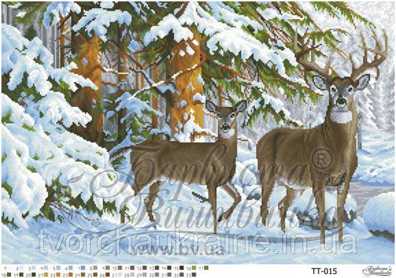 Бисерная заготовка для вышивки схемы-картины Олени в зимнем лесу