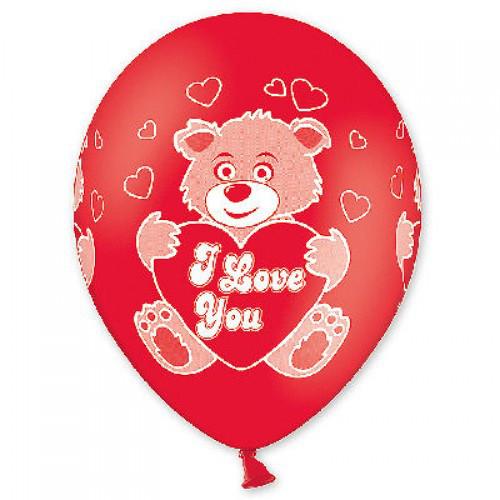 """Воздушные шары """"Мишка """"I Love You"""" 14""""(35см) Красный Пастель В упак:25 шт. Пр-во: Belbal (Бельгия)"""