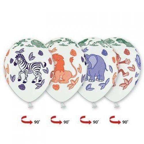 """Воздушные шары """"Лимпопо Африка"""" 14""""(35см) Белый Пастель В упак:25 шт. Пр-во: Belbal (Бельгия)"""