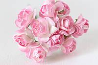 Бумажные цветочки для скрапбукинга 2 см на ножке бело-розовые светлые, фото 1