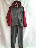 Спортивный костюм подростковый для мальчикаот 7 до 11лет,темно серый с бордовым, фото 1