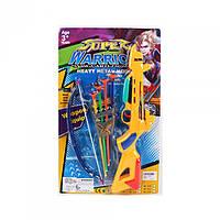 Арбалет 397A 37,5см, стріли-присоски 4шт, сагайдак, 4 кольори, на планшеті, 43,5-28-3см