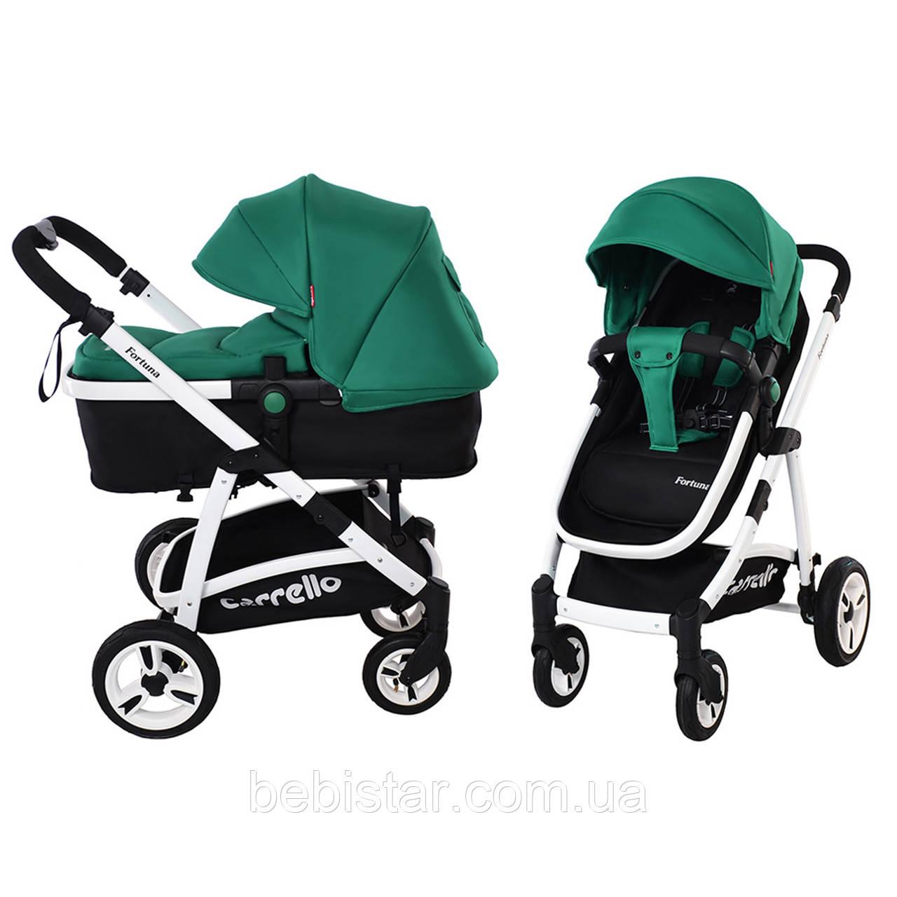 Универсальная коляска-трансформер зеленая Carrello Fortuna 9001 Basil Green деткам от рождения