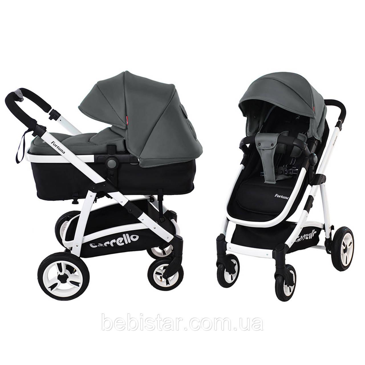 Универсальная коляска-трансформер серая Carrello Fortuna 9001 Shade Grey деткам от рождения до 3 лет