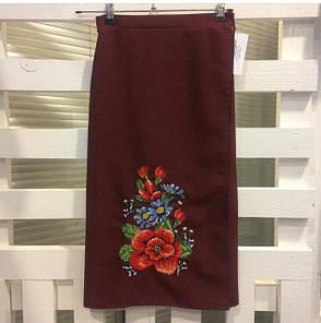 Женская вышитая юбка на запах (плахта) 55 см Мальва бордо, фото 2