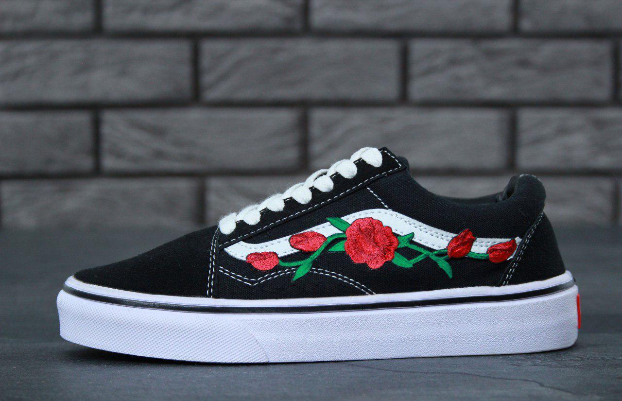 4bbfad2baf04 Кеды женские черные стильные модные красивые Vans Old Skool Roses Ванс Олд  Скул Розы - Bigl.ua