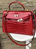 Женская сумка Гермес Келли 28 см кроко (реплика)
