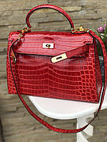 Женская сумка Гермес Келли 28 см кроко (реплика), фото 1