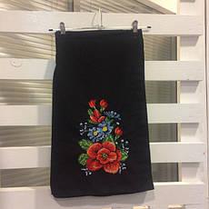 Женская вышитая юбка на запах (плахта) 65 см Мальва черный, фото 3