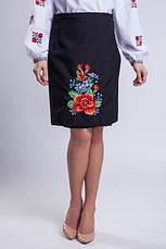Женская вышитая юбка на запах (плахта) 65 см Мальва черный, фото 2