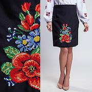 Женская вышитая юбка на запах (плахта) 55 см Мальва черный