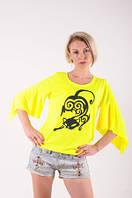 Футболка женская желтая ручная роспись Кошка