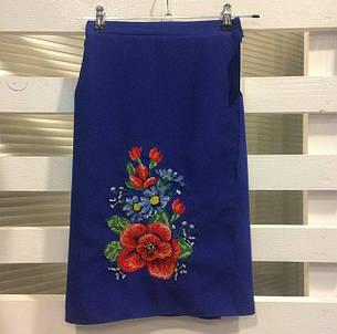 Женская вышитая юбка на запах (плахта) 55 см Мальва синий, фото 2