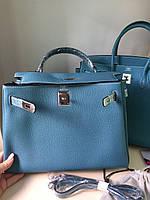 Женская сумка Гермес келли 32 см голубая (реплика), фото 1