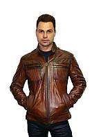 Куртка кожаная натуральная  (мужская), цвет - коричневый, фото 1