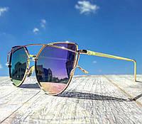 Солнцезащитные очки женские фирменные Cordeo розовый градиент в стиле Ray Ban