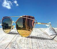 Солнцезащитные очки женские фирменные Cordeo желтый градиент в стиле Ray Ban