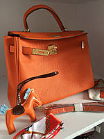 Женская сумка Гермес Келли 32 см оранж (реплика), фото 1