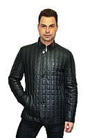 Куртка мужская удлиненная, изготовлена из натуральной кожи, стеганая, цвет - темно-синий, фото 1