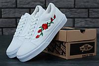 Кеды мужские белые с рисунком Розы стильные Vans Old Skool Roses Ванс Олд Скул