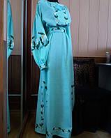 Жіноча вишиванка-плаття довге Бірюза