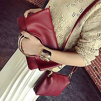 Стильна міська сумка з ручками кільцями і клатчем, фото 2