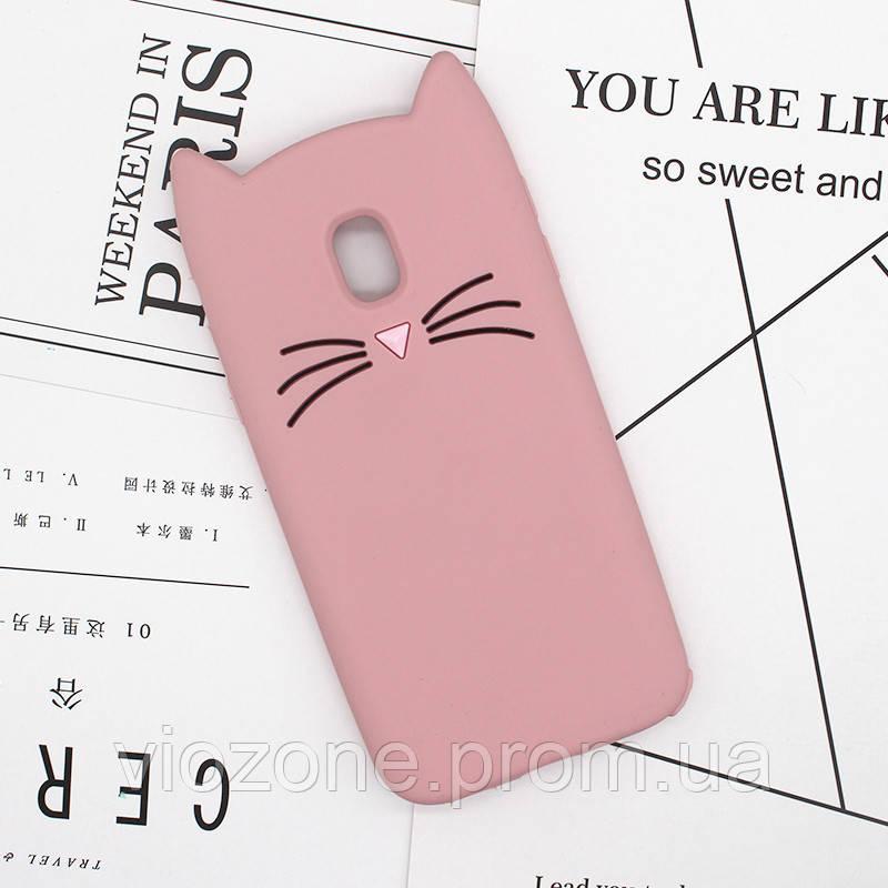 3d Чехол Бампер для Samsung Galaxy J7 2017 / J730  резиновый Розовый Кот