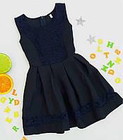 Школьный детский сарафан гипюр   р 6-7-8 лет темно-синий